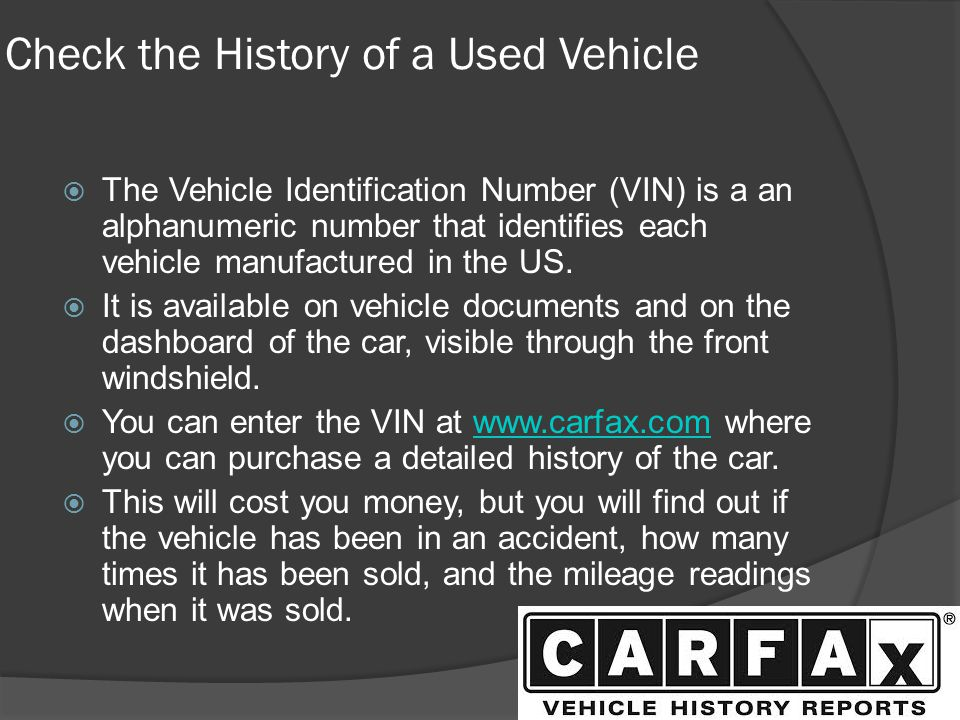 Check the History of a Used Vehicle