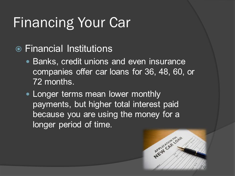 Financing Your Car Financial Institutions