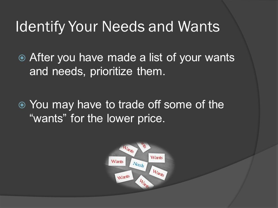 Identify Your Needs and Wants