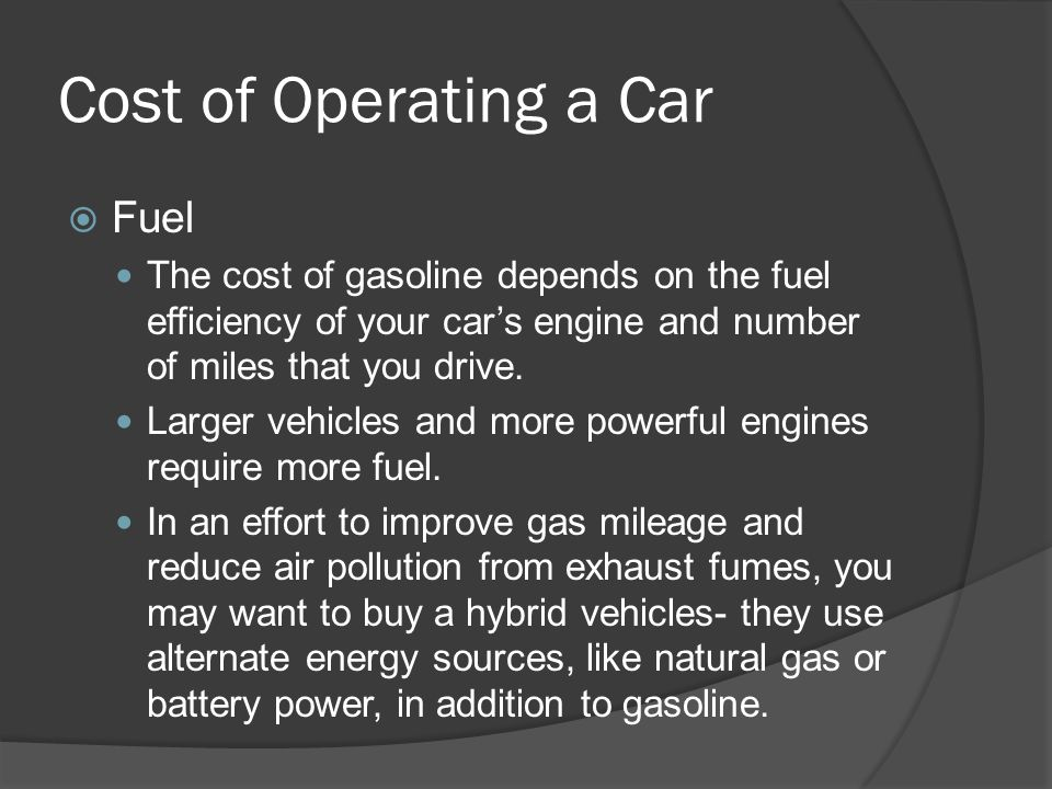 Cost of Operating a Car Fuel