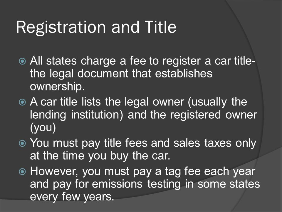 Registration and Title