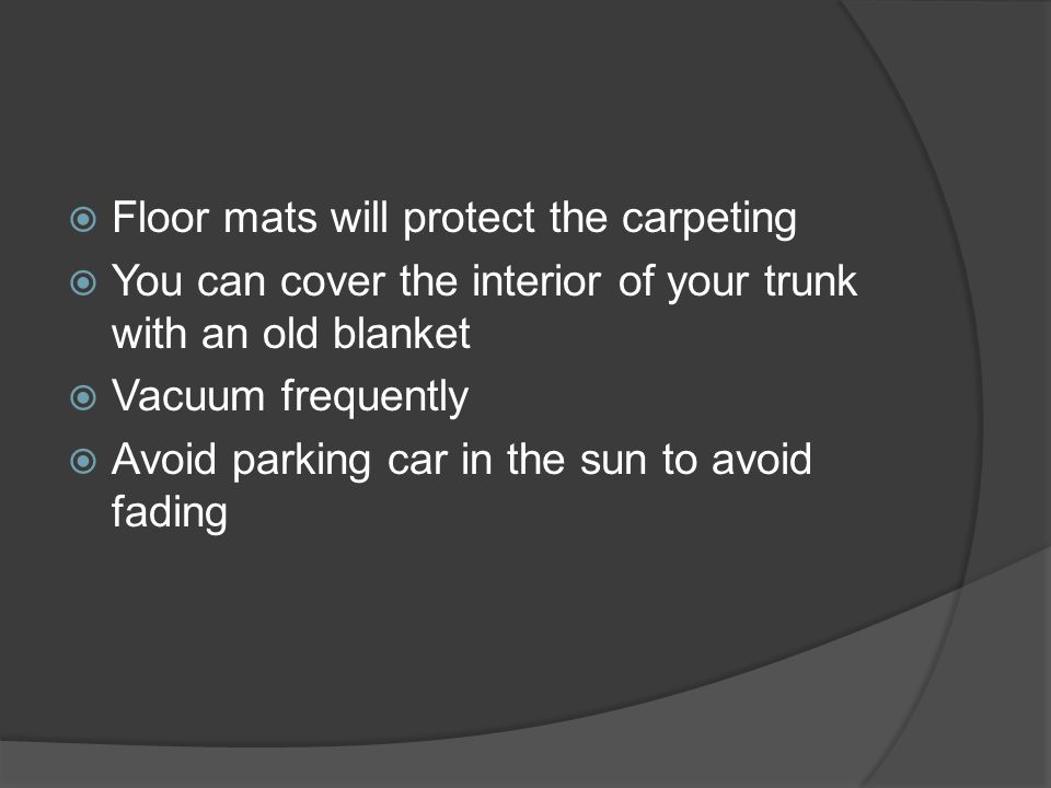 Floor mats will protect the carpeting
