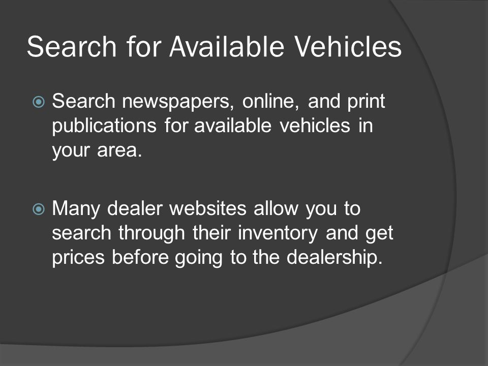 Search for Available Vehicles