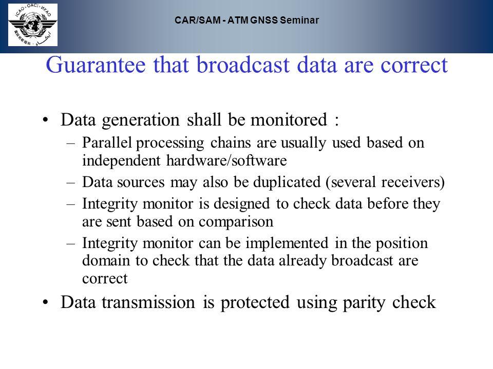 Guarantee that broadcast data are correct