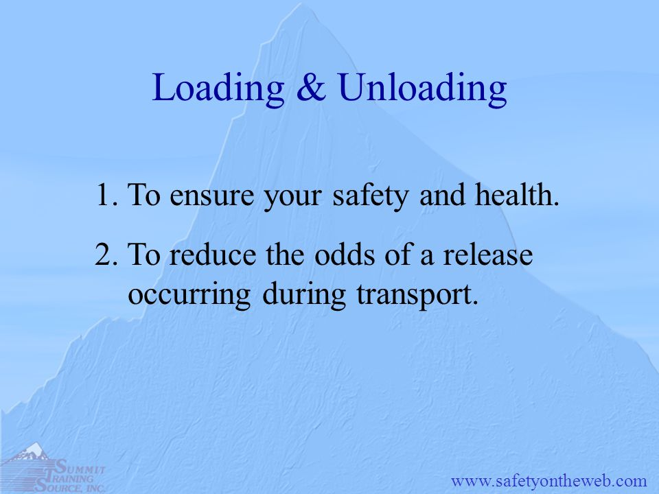 Loading & Unloading 1. To ensure your safety and health.