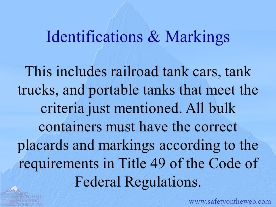Identifications & Markings