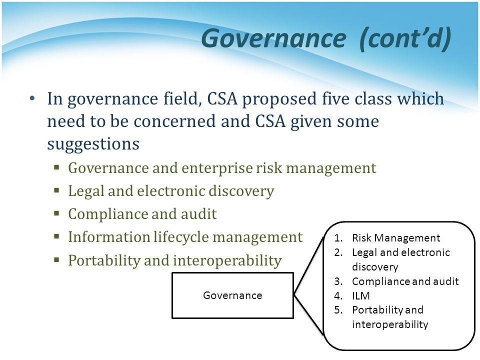 Governance (cont'd) In governance field, CSA proposed five class which need to be concerned and CSA given some suggestions.