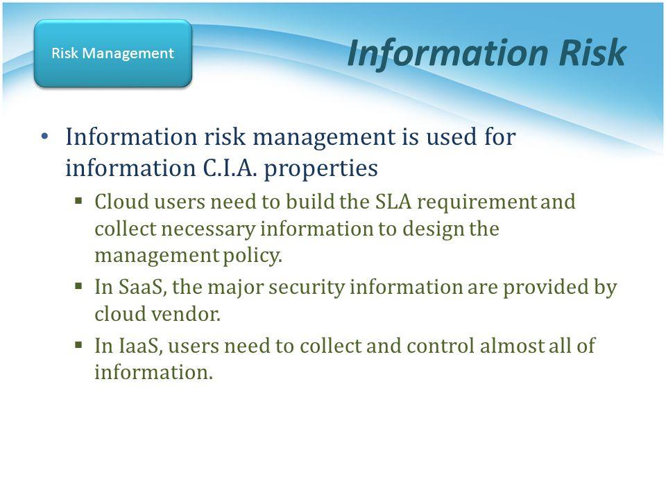 Information Risk Risk Management. Information risk management is used for information C.I.A. properties.