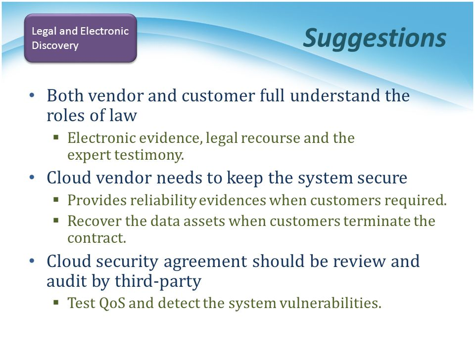 Suggestions Both vendor and customer full understand the roles of law