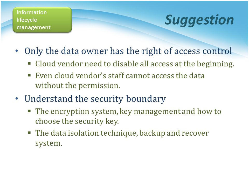 Suggestion Only the data owner has the right of access control