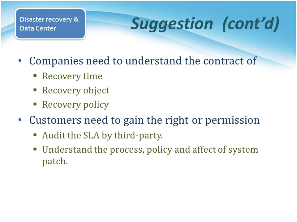 Suggestion (cont'd) Companies need to understand the contract of