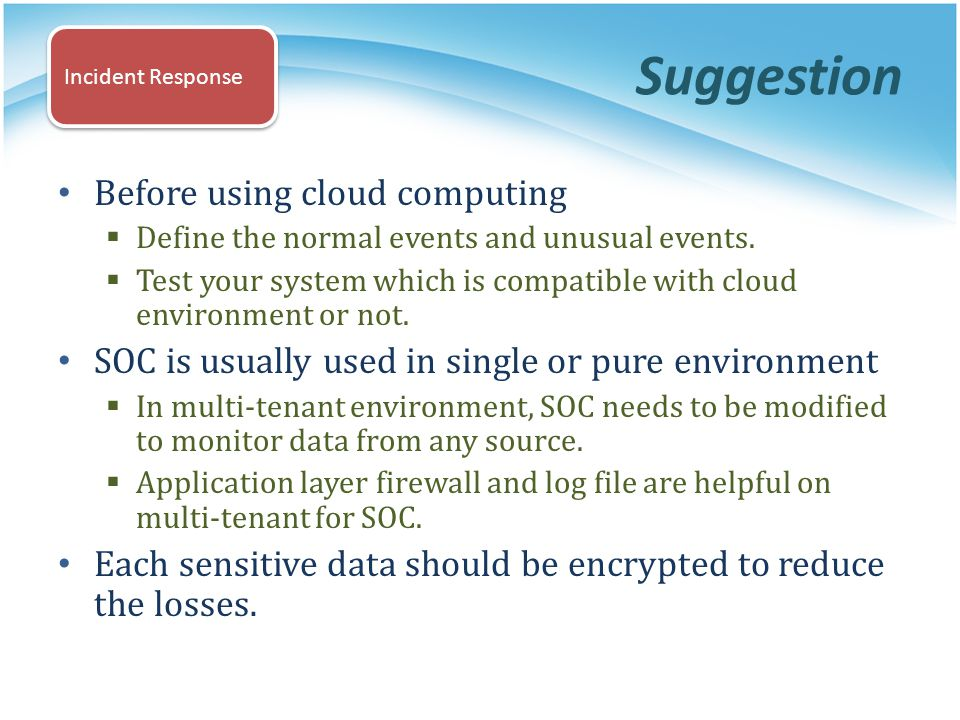 Suggestion Before using cloud computing