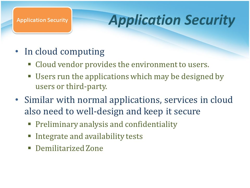 Application Security In cloud computing