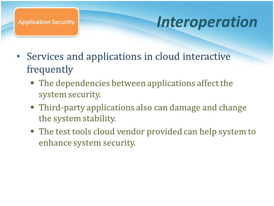 Interoperation Application Security. Services and applications in cloud interactive frequently.