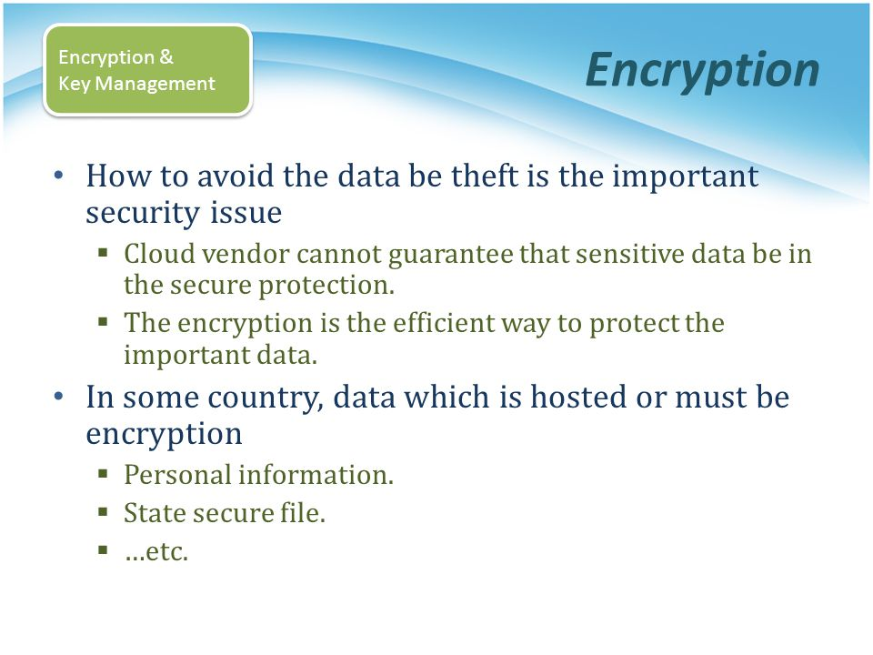 Encryption Encryption & Key Management. How to avoid the data be theft is the important security issue.