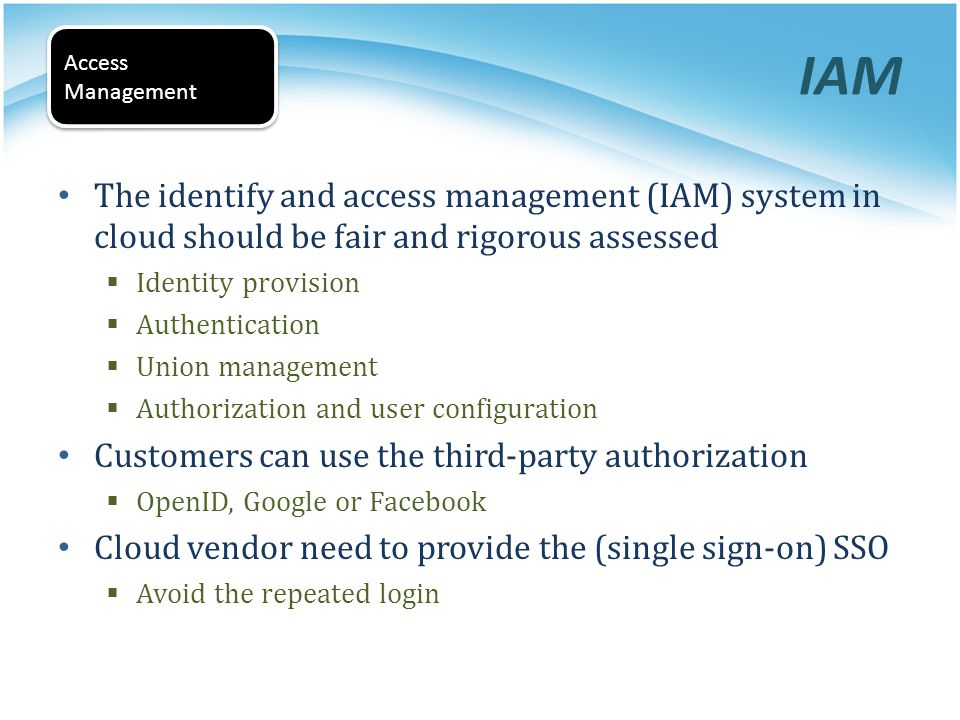 IAM Access. Management. The identify and access management (IAM) system in cloud should be fair and rigorous assessed.