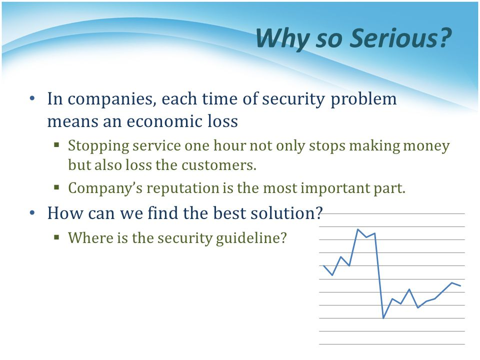 Why so Serious In companies, each time of security problem means an economic loss.