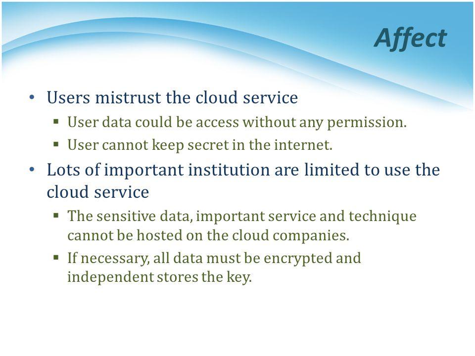 Affect Users mistrust the cloud service
