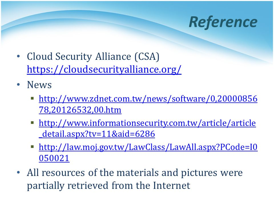 Reference Cloud Security Alliance (CSA)   News.