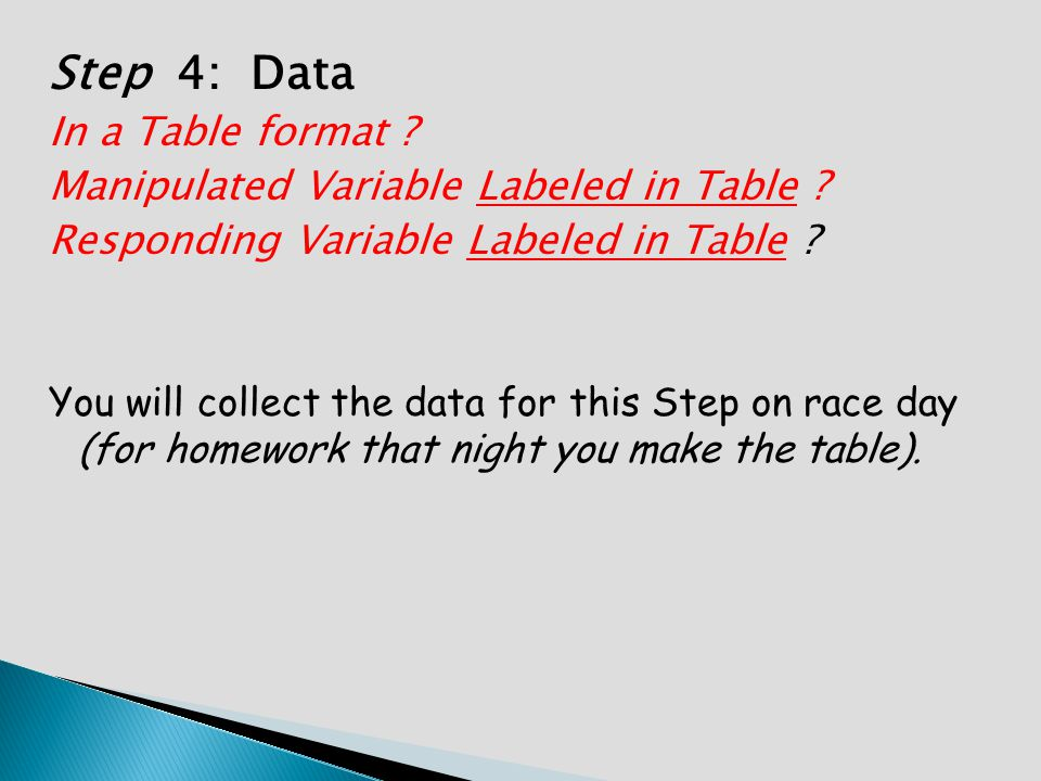 Step 4: Data In a Table format