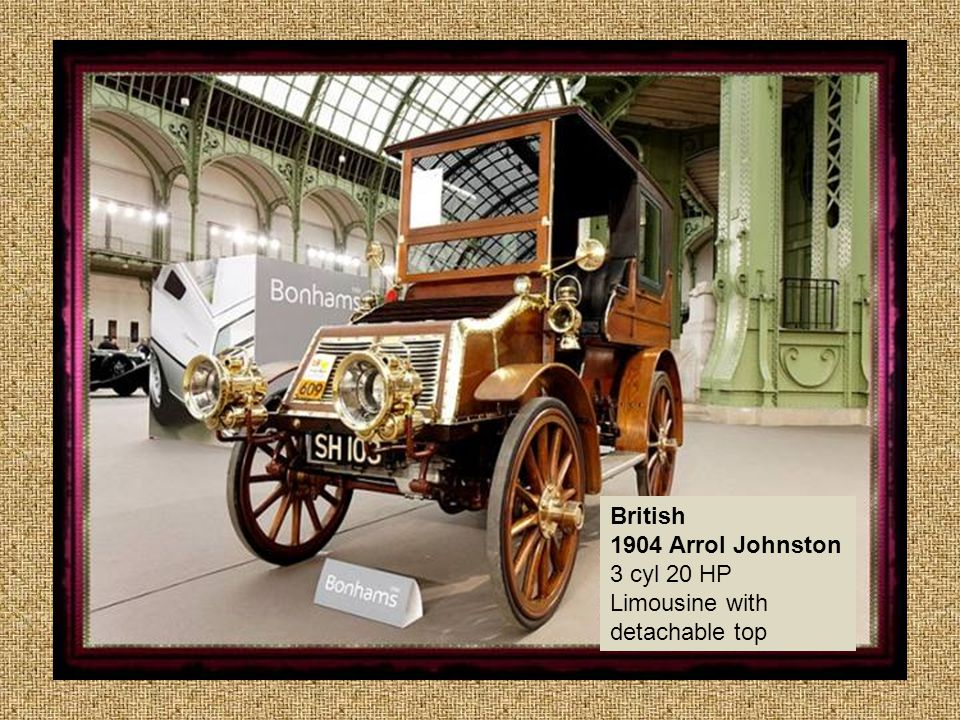 British 1904 Arrol Johnston 3 cyl 20 HP Limousine with detachable top