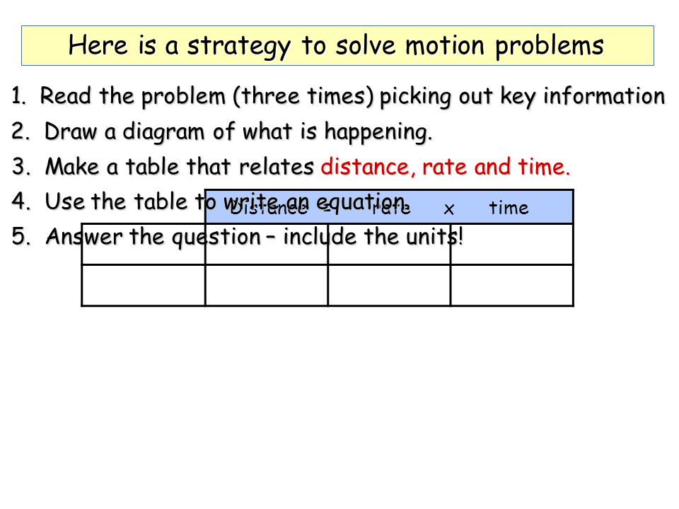 Here is a strategy to solve motion problems