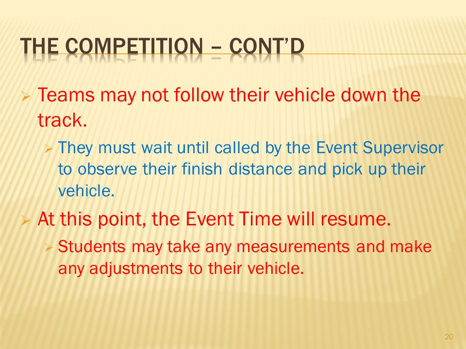 The competition – cont'd