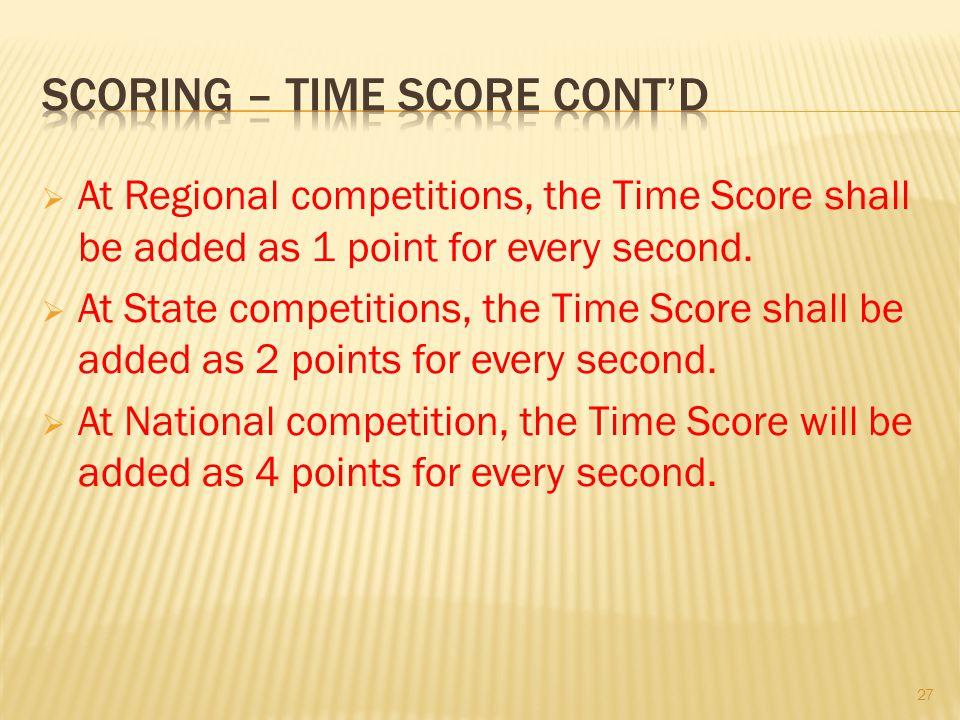Scoring – time Score cont'd