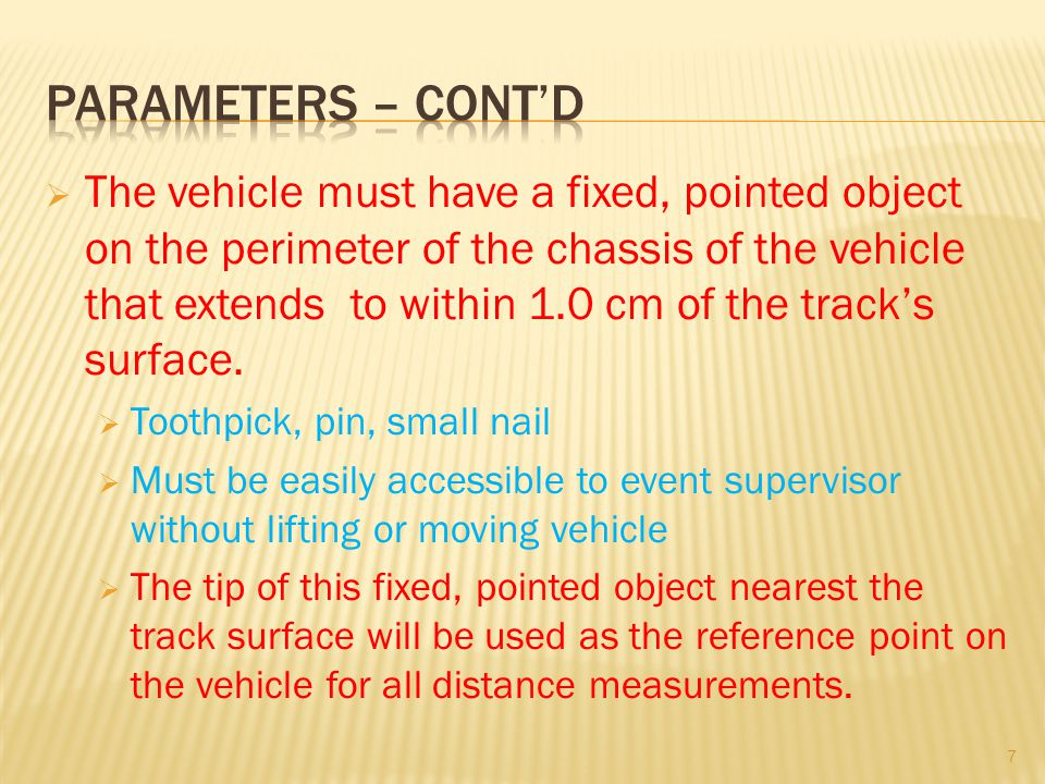 Parameters – cont'd