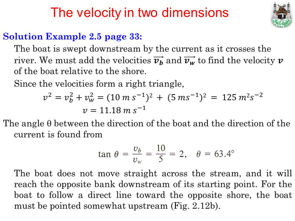 The velocity in two dimensions
