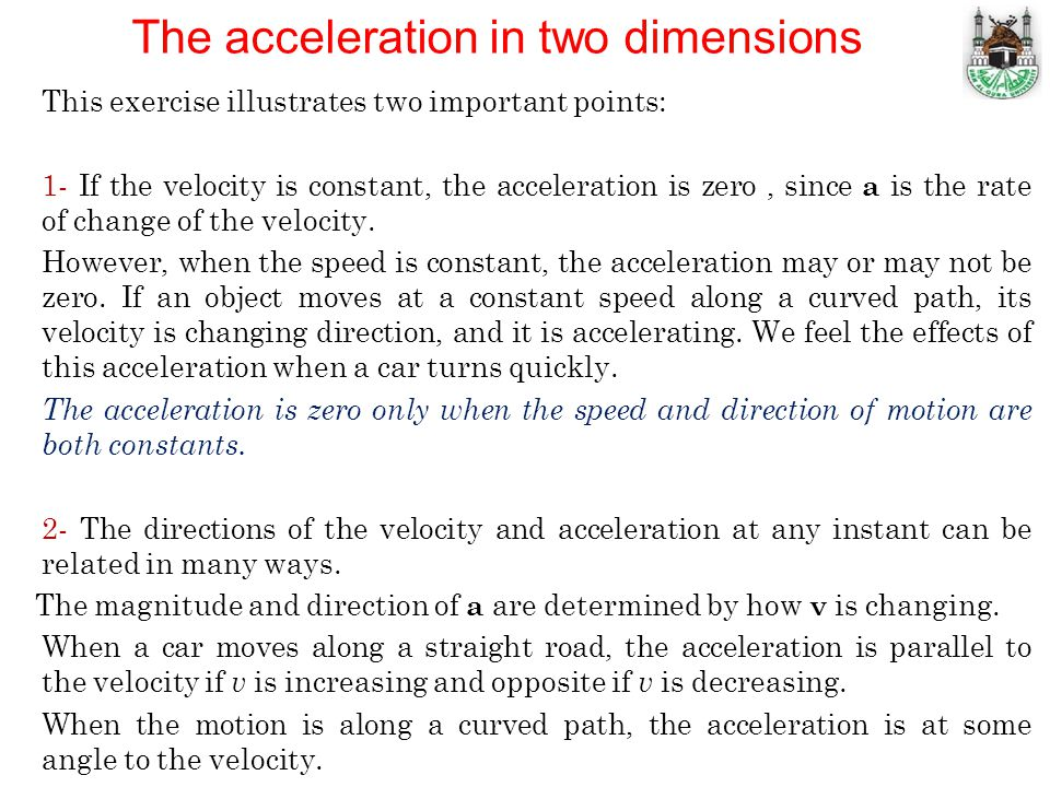 The acceleration in two dimensions