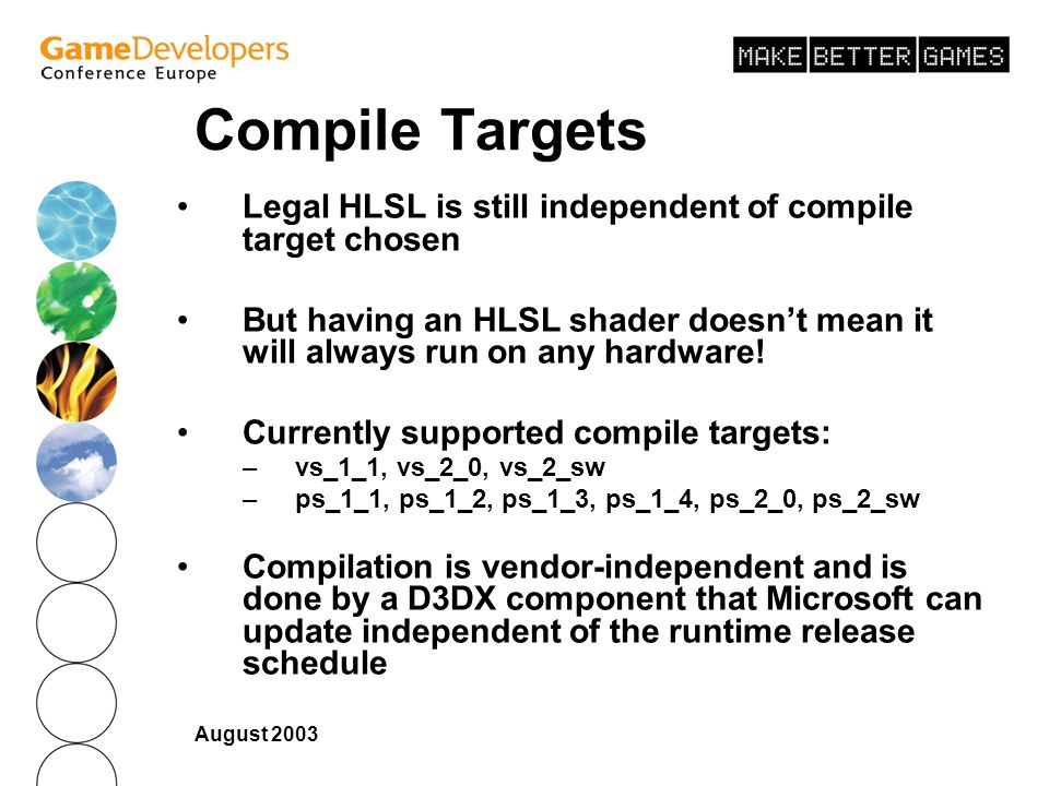 Compile Targets Legal HLSL is still independent of compile target chosen. But having an HLSL shader doesn't mean it will always run on any hardware!