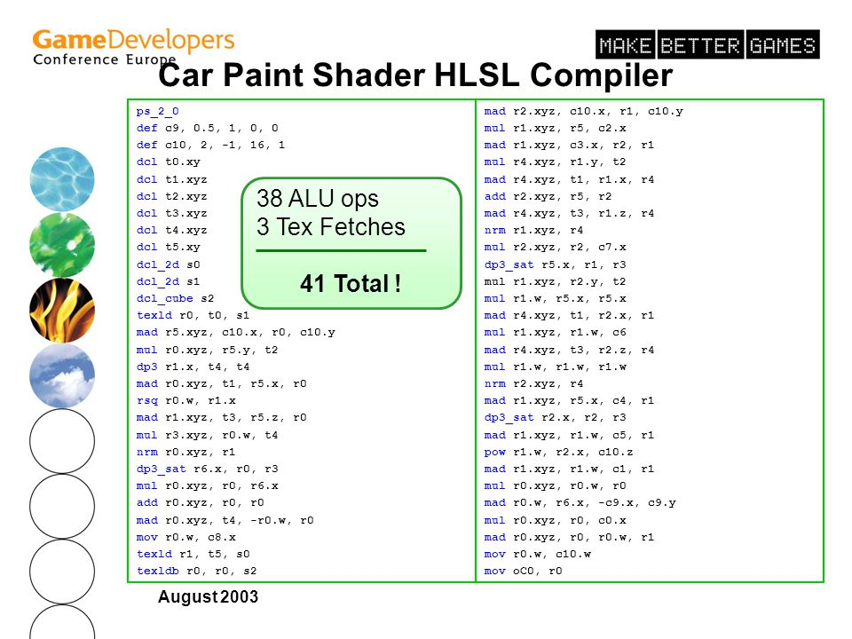 Car Paint Shader HLSL Compiler Disassembly Output