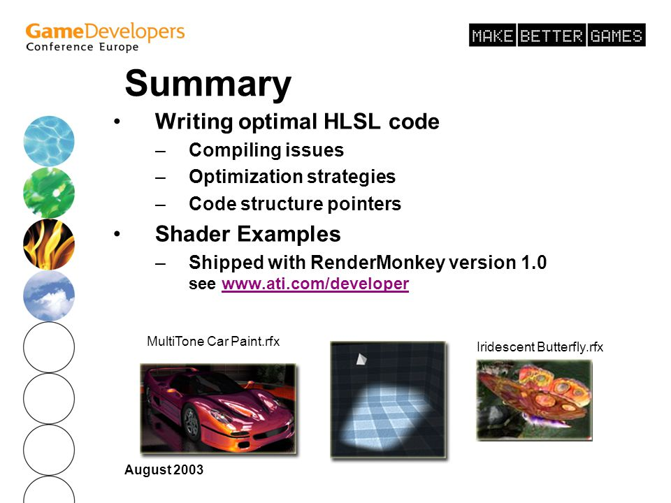 Summary Writing optimal HLSL code Shader Examples Compiling issues
