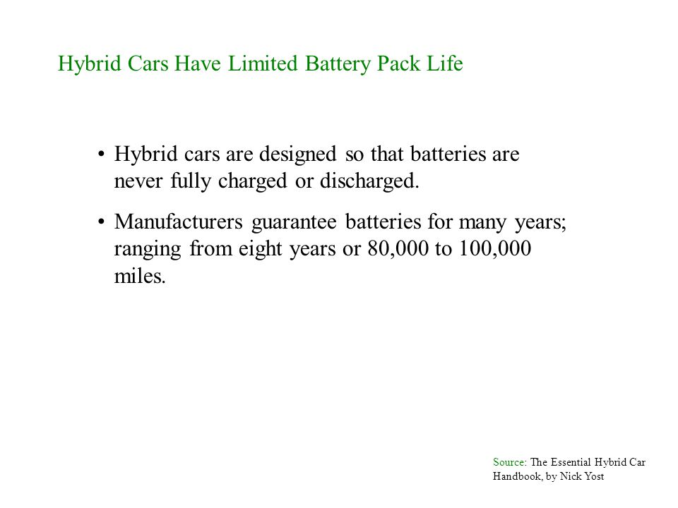 Hybrid Cars Have Limited Battery Pack Life