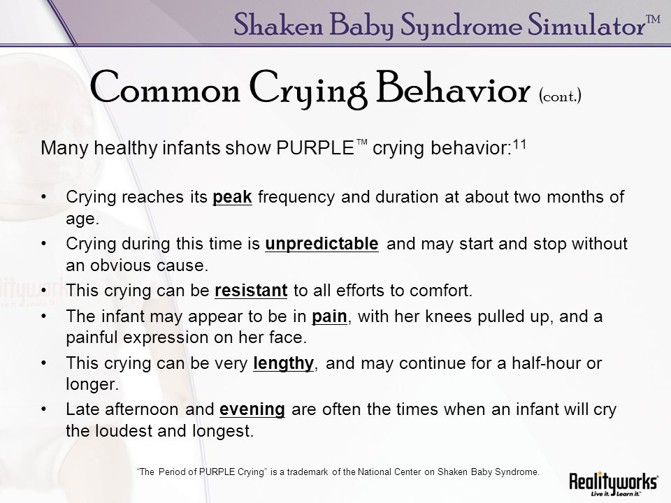Common Crying Behavior (cont.)