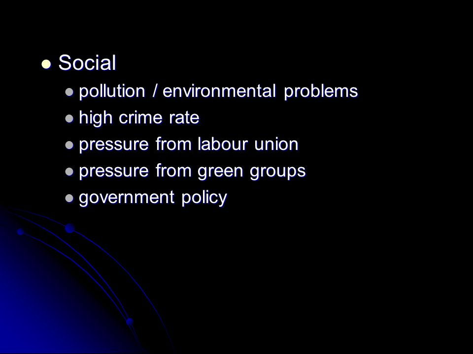 Social pollution / environmental problems high crime rate