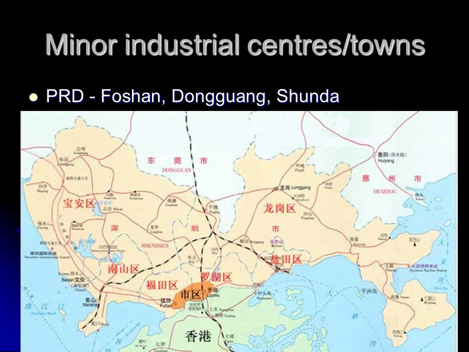 Minor industrial centres/towns