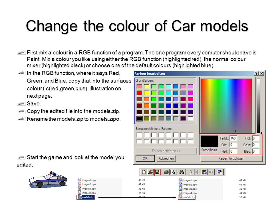 Change the colour of Car models