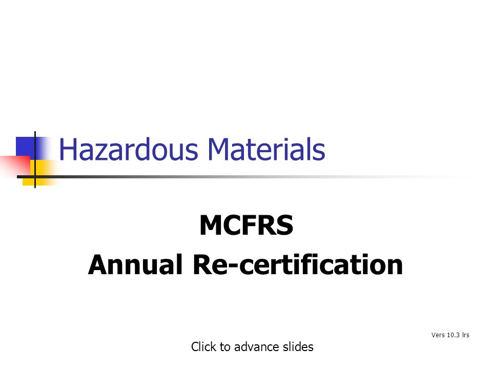 MCFRS Annual Re-certification