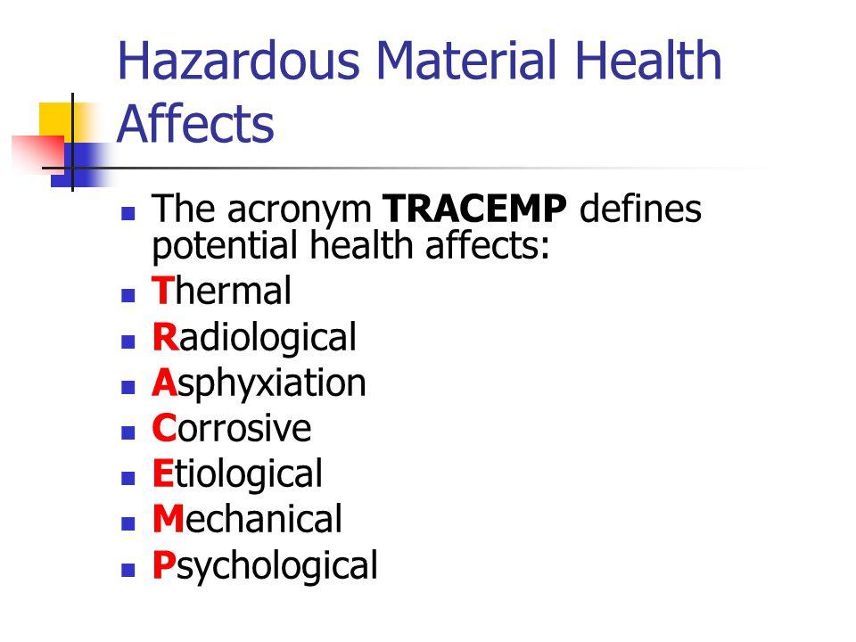 Hazardous Material Health Affects