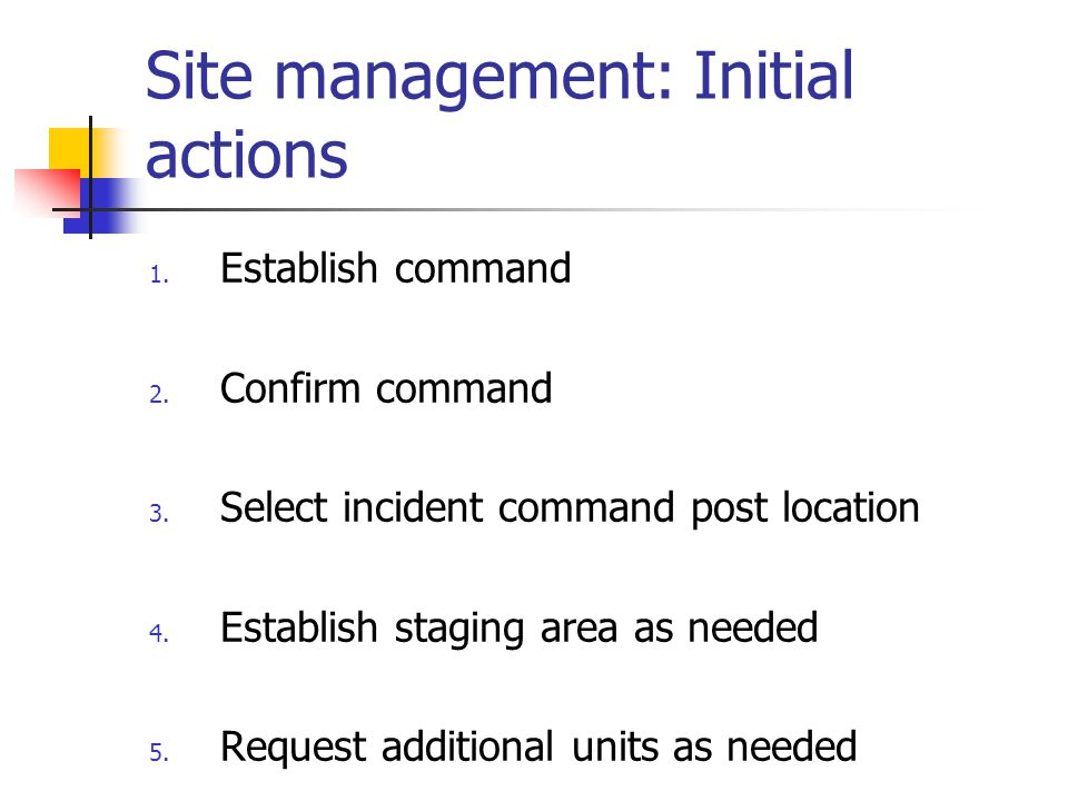 Site management: Initial actions