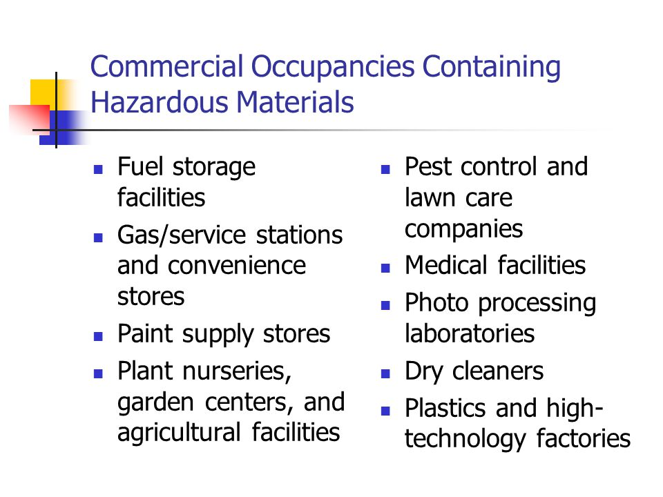 Commercial Occupancies Containing Hazardous Materials