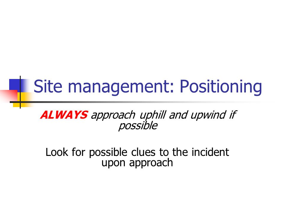 Site management: Positioning