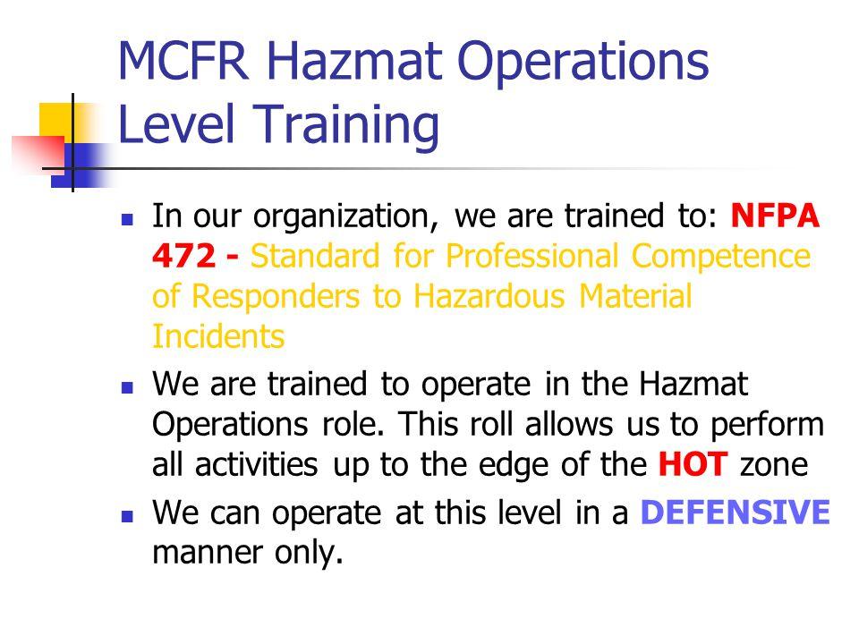 MCFR Hazmat Operations Level Training