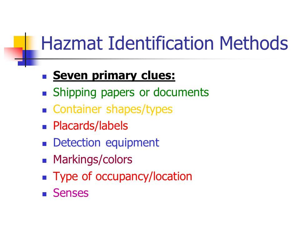 Hazmat Identification Methods