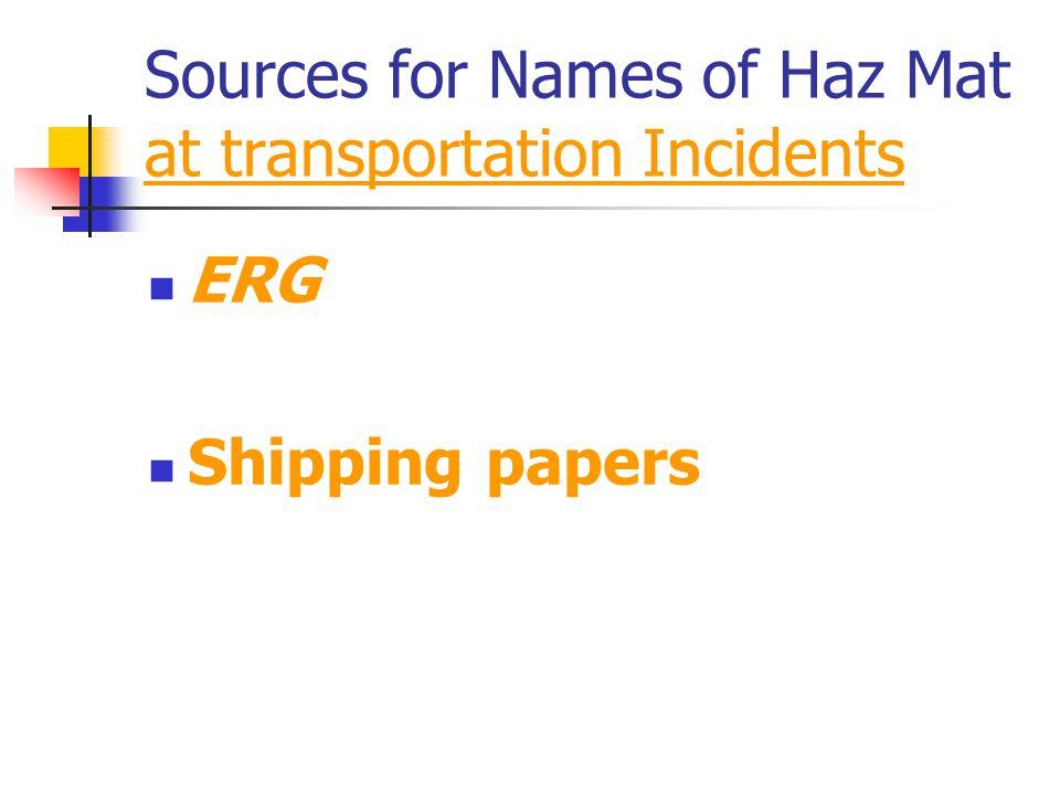 Sources for Names of Haz Mat at transportation Incidents