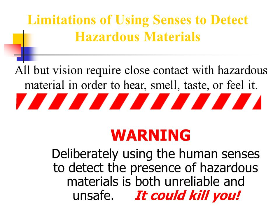 Limitations of Using Senses to Detect Hazardous Materials