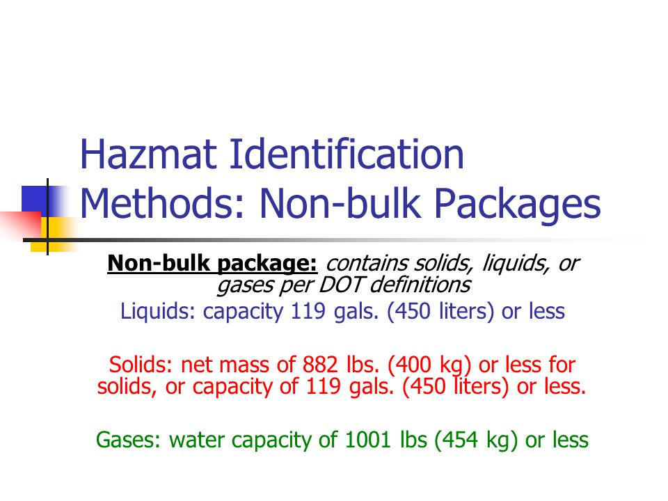 Hazmat Identification Methods: Non-bulk Packages