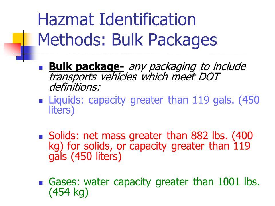 Hazmat Identification Methods: Bulk Packages